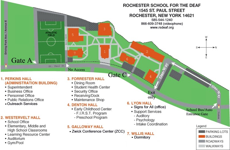 Rochester Campus Map.About Rochester School For The Deaf Campus Map